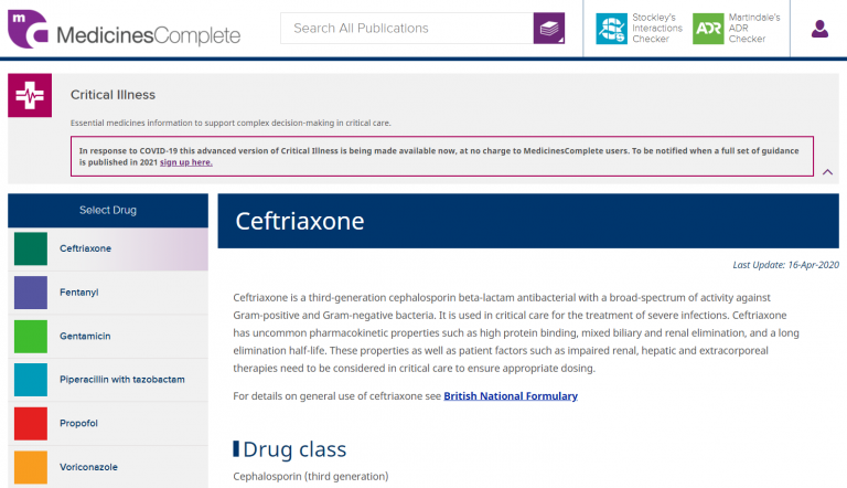 Preview of a critical care dosing page using Ceftriaxone as example